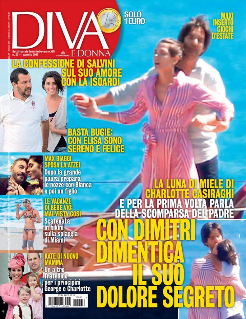 Copertina della rivista Diva e Donna del mese di agosto 2017 - articolo di Simona Oberhammer sul metodo biotipi Oberhammer