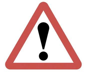 Segnale rosso di pericolo, controindicazioni, effetti secondari avvertenze punto esclamativo